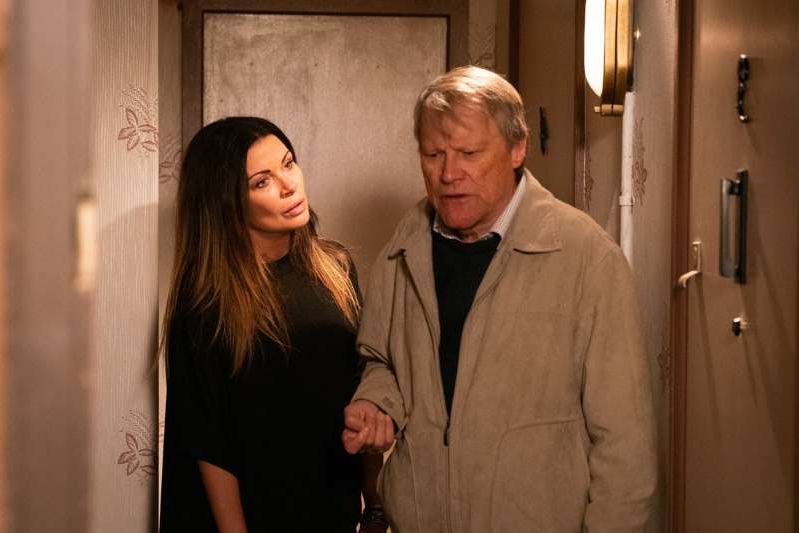 David Neilson, Alison King are posing for a picture: Roy Cropper and Carla Connor in Coronation Street