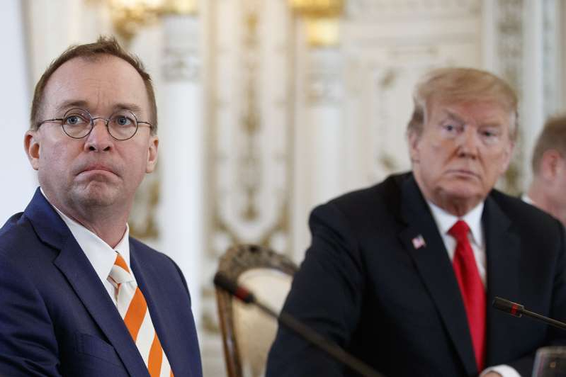 Donald Trump, Mick Mulvaney are posing for a picture: Democrats have repeatedly stated that the outright blockade by acting White House chief of staff Mick Mulvaney, right, and budget officials will be used as evidence of obstruction of Congress by President Donald Trump.