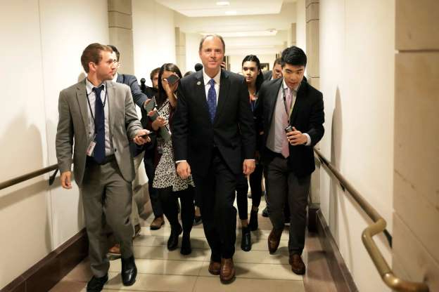 Slide 38 of 73: Congressman Adam Schiff (D-CA) leaves after a closed-door deposition from Deputy Assistant Secretary of Defense Laura Cooper as part of the U.S. House of Representatives impeachment inquiry into U.S. President Donald Trump on Capitol Hill in Washington, U.S., October 23, 2019.