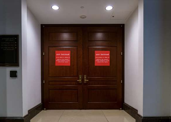 Slide 66 of 73: The entrance to a secure facility used by the House Intelligence Committee is seen in the Capitol as House Democrats prepare for depositions in the impeachment inquiry of President Donald Trump.