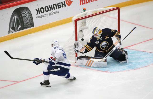 STOCKHOLM, SWEDEN - NOV 8:  Nikita Kucherov #86 of the Tampa Bay Lightning scores a first period goal against Linus Ullmark #35 of the Buffalo Sabres during their game at the 2019 NHL Global Series Sweden, at the Ericsson on Nov 8, 2019 in Stockholm, Sweden. (Photo by Dave Sandford/NHLI via Getty Images)