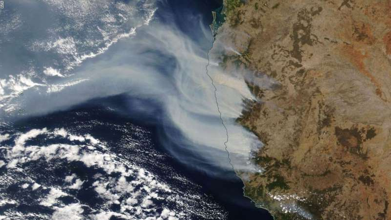 a close up of a waterfall: Bushfires in New South Wales are seen from space in this satellite imagery provided by NASA.