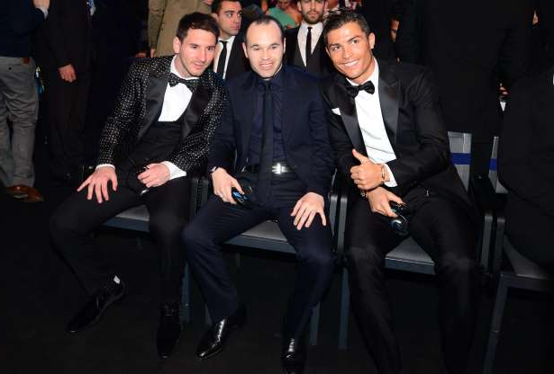 File - Ballon d'Or finalists (L-R) Real Madrid's Portuguese forward Cristiano Ronaldo, Barcelona's Spanish midfielder Andres Iniesta and Barcelona's Argentinian forward Lionel Messi pose prior to the start of the FIFA Ballon d'Or awards ceremony at the Kongresshaus in Zurich on January 7, 2013.    AFP PHOTO / OLIVIER MORIN        (Photo credit should read OLIVIER MORIN/AFP/Getty Images)