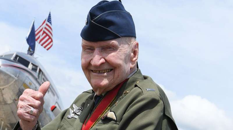Gail Halvorsen wearing a military uniform: Gail Halvorsen is known as the Berlin Candy Bomber