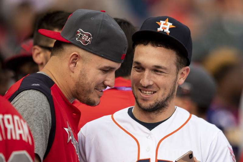 a man wearing a hat: Alex Bregman and Mike Trout are two of the finalists for AL MVP. (Photo by Billie Weiss/Boston Red Sox/Getty Images)