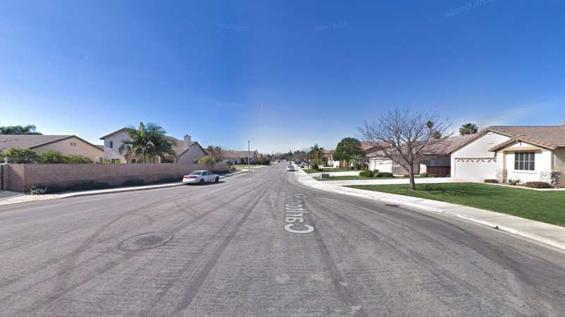 a sign on the side of a road: The 5400 block of Carlton Street in an unincorporated portion of San Bernardino County near Montclair, as pictured in a Google Street View image.