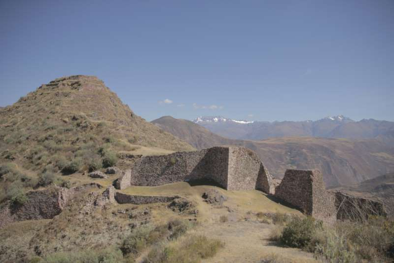 a view of a rocky mountain: The Wat'a mountaintop site in Peru.