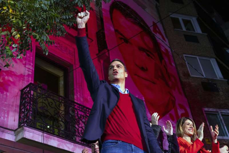 Pedro Sanchez standing in front of a building: Spain Votes In General Election Re-run
