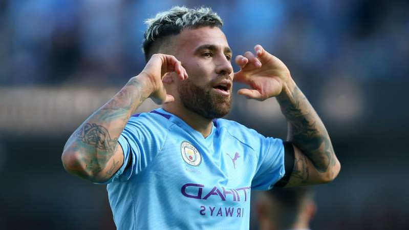 a close up of Nicolas Otamendi in a blue shirt: Manchester City defender Nicolas Otamendi