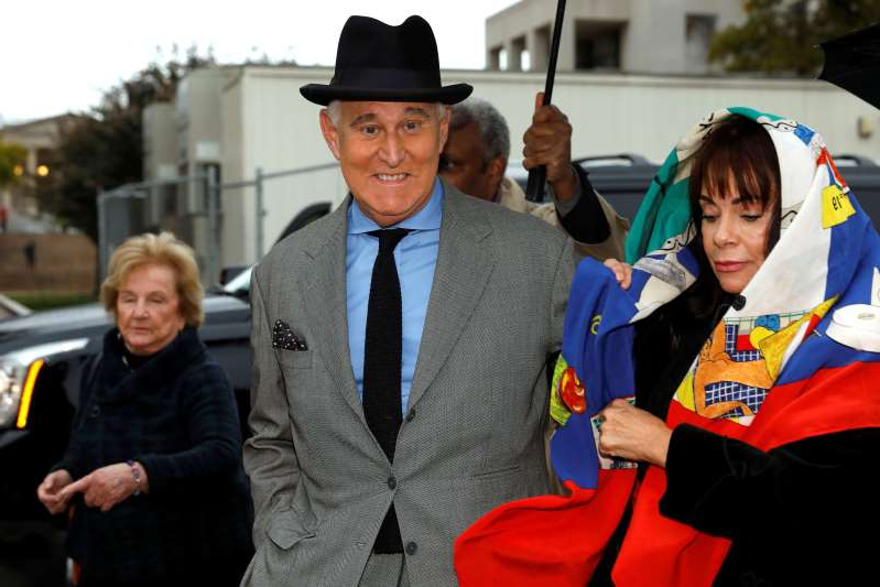 Roger Stone arrives with his wife, Nydia, for the continuation of his criminal trial at U.S. District Court in Washington on November 12, 2019.