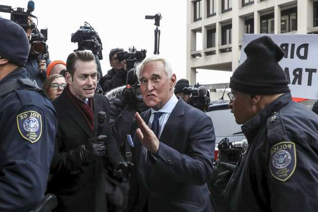Slide 2 of 13: Roger Stone, longtime political ally of U.S. President Donald Trump, arrives for his arraignment at U.S. District Court in Washington, U.S., January 29, 2019.