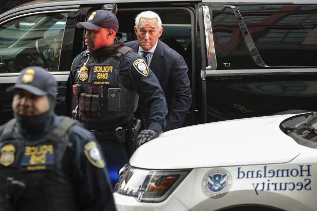 Slide 4 of 13: WASHINGTON, DC - JANUARY 29: Roger Stone, a longtime adviser to President Donald Trump, arrives at the Prettyman United States Courthouse before facing charges from Special Counsel Robert Mueller that he lied to Congress and engaged in witness tampering January 29, 2019 in Washington, DC. A self-described 'political dirty-trickster,' Stone said he has been falsely accused and will plead 'not guilty.'