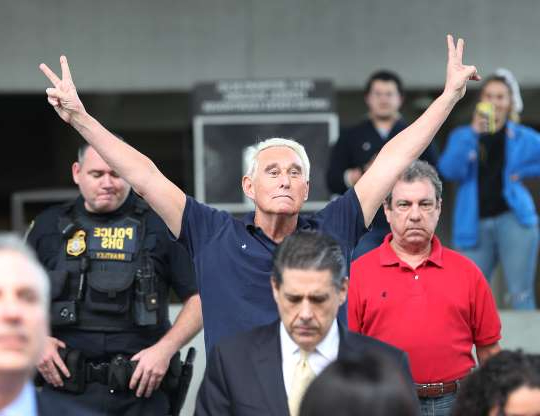 Slide 8 of 13: FORT LAUDERDALE, FLORIDA - JANUARY 25: Roger Stone, a former advisor to President Donald Trump, exits the Federal Courthouse on January 25, 2019 in Fort Lauderdale, Florida. Mr. Stone was charged by special counsel Robert Mueller of obstruction, giving false statements and witness tampering. (Photo by Joe Raedle/Getty Images)