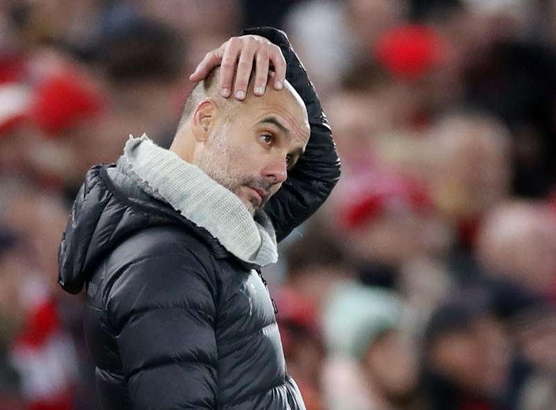 Soccer Football - Premier League - Liverpool v Manchester City - Anfield, Liverpool, Britain - November 10, 2019  Manchester City manager Pep Guardiola reacts  Action Images via Reuters/Carl Recine  EDITORIAL USE ONLY. No use with unauthorized audio, video, data, fixture lists, club/league logos or