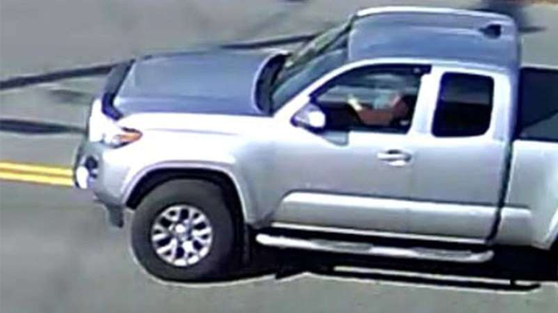 a car parked in a parking lot: Vermont State Police believe the occupants of this vehicle, a 2016 or newer Toyota Tacoma SR5, may have witnessed a fatal shooting in which a Boston delivery driver was killed on Nov. 1, 2019.