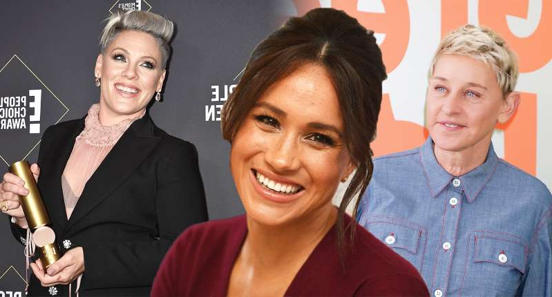 Ellen DeGeneres, Meghan Markle, Pink posing for the camera: From left, Ellen DeGeneres, Meghan Markle and Pink are all advocates of being more kind. [Photo: Getty]