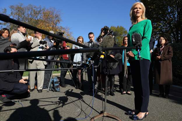 Slide 20 of 85: Kellyanne Conway, counselor to President Donald Trump, talks to reporters on the driveway outside of the White House November 01, 2019 in Washington, DC. Conway fielded questions about the ongoing impeachment inquiry, Trump's decision to become a resident of Florida and a potential visit to the White House by Turkish President Recep Tayyip Erdogan.
