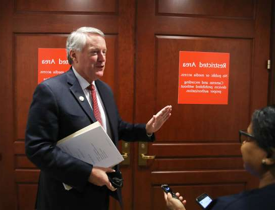 Slide 43 of 85: Rep. Mark Meadows (R-NC) speaks to reporters before entering a closed-door deposition on Capitol Hill, October 29, 2019 in Washington, DC. Army Lt. Col. Alexander Vindman, Director for European Affairs at the National Security Council, Is being deposed as part of the impeachment inquiry against President Trump, led by the House Intelligence, House Foreign Affairs and House Oversight and Reform Committees.