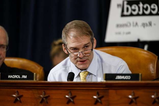 Slide 7 of 85: Rep. Jim Jordan, R-Ohio, speaks during a House Intelligence Committee hearing on Capitol Hill in Washington, Wednesday, Nov. 13, 2019, during the first public impeachment hearing of President Donald Trump's efforts to tie U.S. aid for Ukraine to investigations of his political opponents.