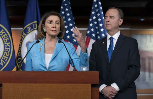 Slide 76 of 85: Speaker of the House Nancy Pelosi, D-Calif., is joined by House Intelligence Committee Chairman Adam Schiff, D-Calif., at a news conference as House Democrats move ahead in the impeachment inquiry of President Donald Trump, at the Capitol in Washington on Oct. 2.