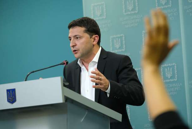 Slide 79 of 85: Ukrainian President Volodymyr Zelensky speaks to the media on Oct. 1, in Kiev, Ukraine.