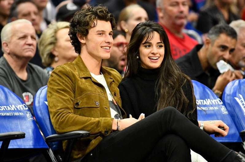 Shawn Mendes et al. sitting in front of a crowd: Camila Cabello and Shawn Mendes