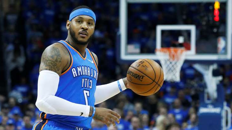 Slide 10 of 51: Oklahoma City Thunder forward Carmelo Anthony (7) during Game 5 of an NBA basketball first-round playoff series between the Utah Jazz and the Oklahoma City Thunder in Oklahoma City, Wednesday, April 25, 2018. (AP Photo/Sue Ogrocki)
