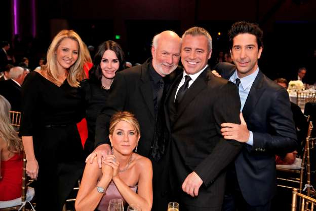 Slide 51 of 63: MUST SEE TV: AN ALL-STAR TRIBUTE TO JAMES BURROWS -- Pictured: (l-r) David Schwimmer, Matt LeBlanc, James Burrows, Jennifer Aniston, Courteney Cox, Lisa Kudrow -- (Photo by: Chris Haston/NBC/NBCU Photo Bank via Getty Images)