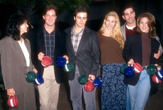 Slide 6 of 63: LOS ANGELES, CA - JANUARY 9: Actors Jennifer Aniston, David Schwimmer, Lisa Kudrow, Matt LeBlanc, Matthew Perry and Courtney Cox of the television comedy, Friend's pose for a portrait during an NBC Press Tour Party on January 9, 1995 in Los Angeles, California. (Photo by Ron Davis/Getty Images)