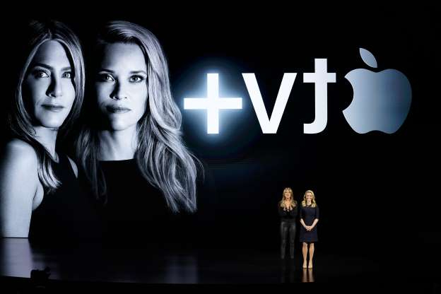 Slide 62 of 63: Actors Reese Witherspoon, left, and Jennifer Aniston speak at the Steve Jobs Theater during an event to announce new Apple products Monday, March 25, 2019, in Cupertino, Calif. (AP Photo/Tony Avelar)