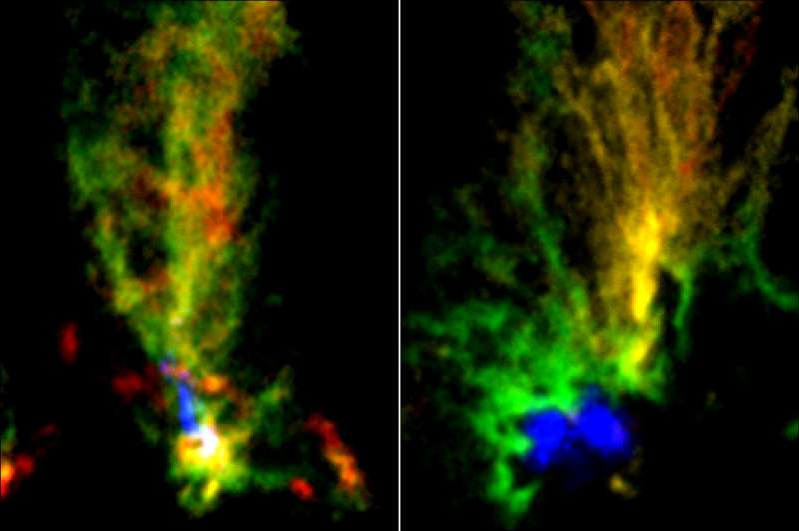 a worm in the dark: ALMA images of two molecular clouds: N159E-Papillon Nebula (left) and N159W South (right). Red and green show the distributions of molecular gas with different velocities. The blue region in N159E-Papillon Nebula shows the ionized hydrogen gas observed with the Hubble Space Telescope. The blue part in N159W South shows the emissions from dust particles obtained with ALMA.