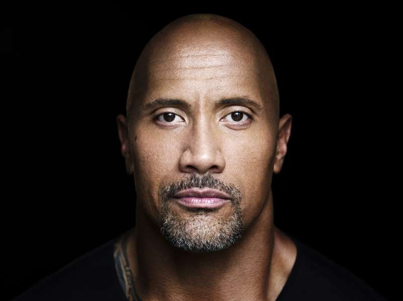 Dwayne Johnson looking at the camera