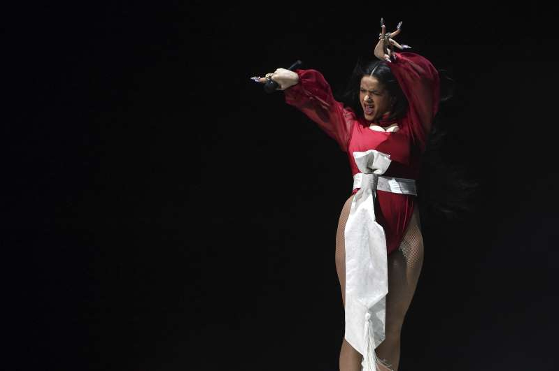 Rosalia performs a medley at the 20th Latin Grammy Awards on Thursday, Nov. 14, 2019, at the MGM Grand Garden Arena in Las Vegas. (AP Photo/Chris Pizzello)