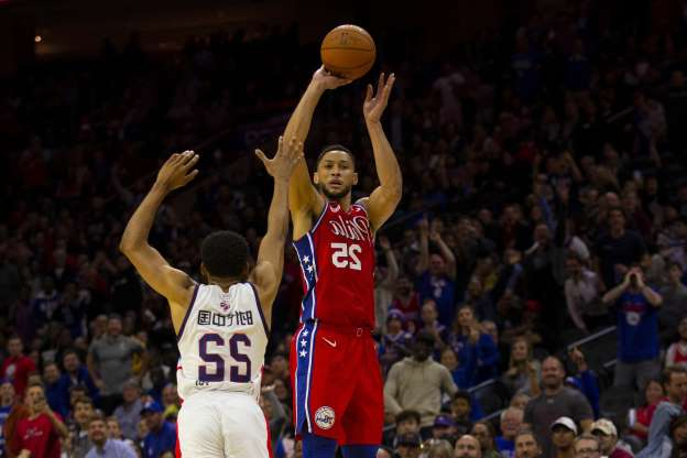 Slide 11 of 26: Ben Simmons is one of the NBA's most uniquely talented players. Those talents do not include the ability to make jump shots with any consistency. Three-pointers are out of the question. Still, Simmons has been putting in long hours to improve his shot, and during a Sixers preseason game, he was left wide open, and with teammates imploring him, attempted a three. The shot went in, and the crowd and his teammates reacted like Philadelphia had just won the NBA Finals. Seriously, look at those smirks in the crowd. That shot wasn't a harbinger of things to come, though. Simmons, who is 0-of-17 from three-point range in his career, still hasn't attempted a trey in seven regular-season games this year. Mitchell Leff / Contributor