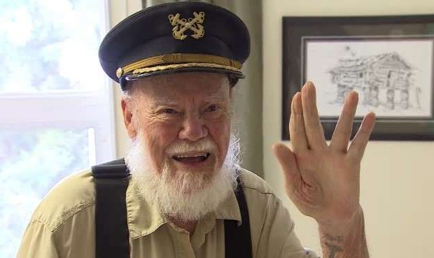 a man wearing a hat: 'Live long and prosper,' said Captain Dick Stevenson in 2017.