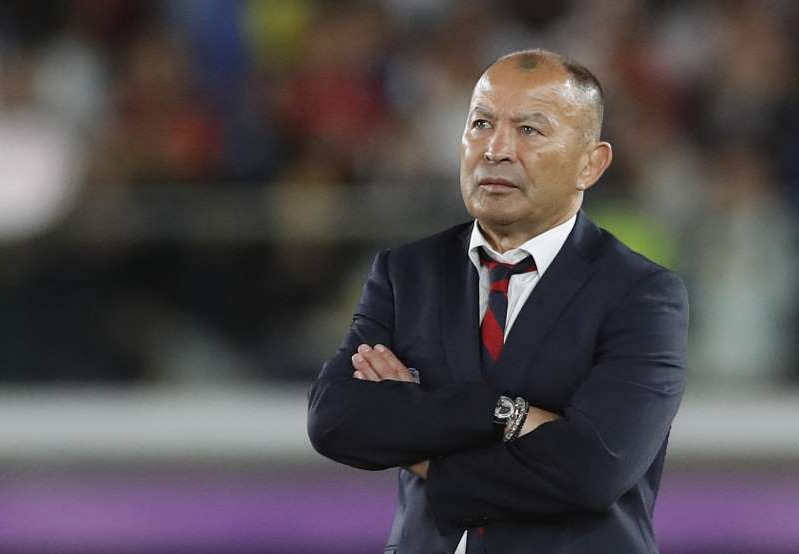 Eddie Jones wearing a suit and tie: Rugby World Cup - Final - England v South Africa