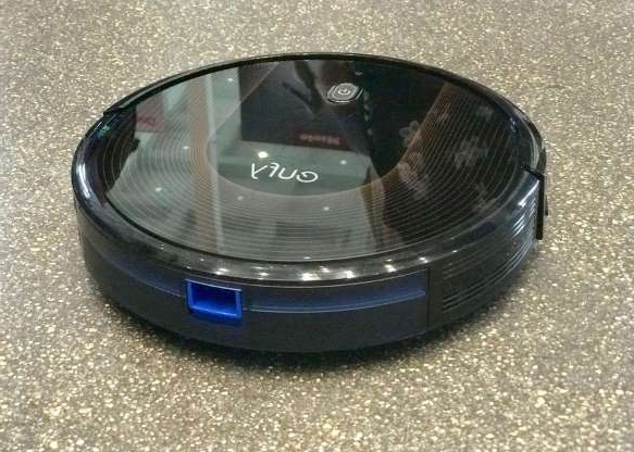 a close up of a car: The Eufy RoboVac 35C connects via Wi-Fi to Alexa or Google Assistant, which means that you can tell it to clean up, and then walk away. We haven't tested this particular model, which Walmart has discounted by more than $200, but we did review the similar 11S Max model (pictured above), which we found to be a solid performer on bare hardwood floors. Read our roundup of robot vacuum cleaners.