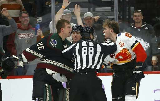 a group of people wearing costumes: Linesman Tyson Baker (88) tries to break up Calgary Flames left wing Matthew Tkachuk, left, and Arizona Coyotes goaltender Darcy Kuemper (35) during a brawl during the second period of an NHL hockey game, Saturday, Nov. 16, 2019, in Glendale, Ariz. (AP Photo/Ross D. Franklin)