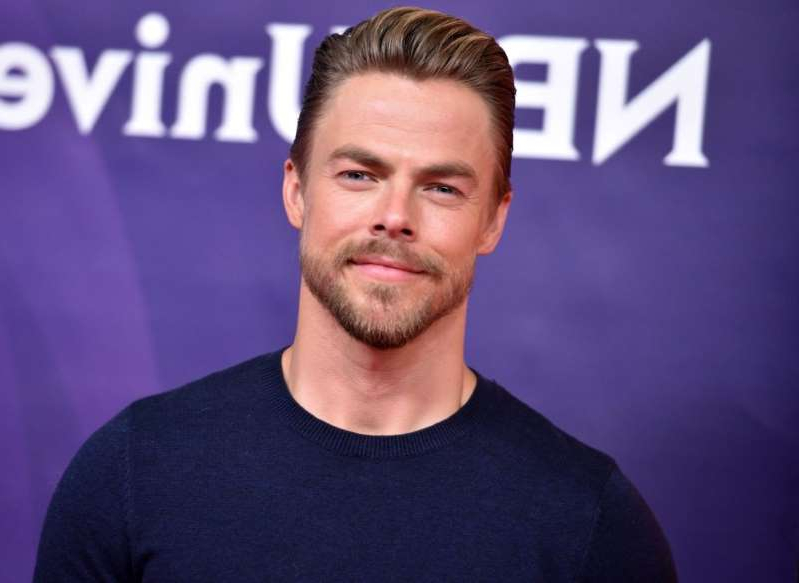 Derek Hough wearing a black shirt: Derek Hough NBCUniversal Summer Press Day, Los Angeles, USA - 02 May 2018