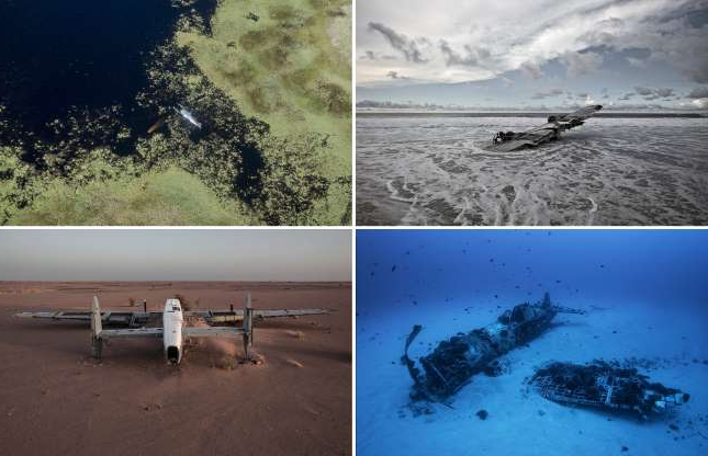 Slide 1 of 28: 'Happy End', the latest body of work by German photographer Dietmar Eckell celebrates the miracles of aviation world. Having survived a paramotor crash in Mojave Desert, Eckell began to scour the internet for other plane wrecks where all the passengers survived. Undeterred by the extreme isolation of many of the crash site, the maverick photographer set out to document 15 plane wreck on four continents in what he describes as ''miracles of aviation history'. Join us as we look at a selection of the amazing images and the incredible stories behind them.
