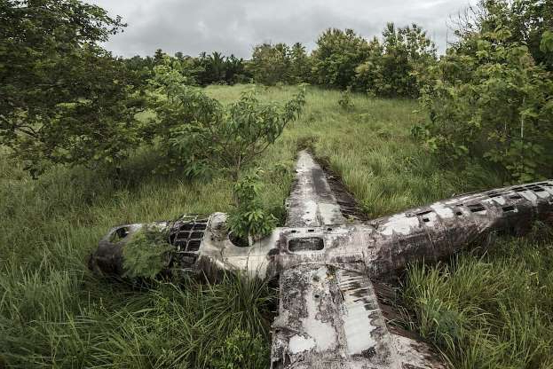 Slide 26 of 28: Another World War II workhorse, the massive B-24 bomber crash-landed in swamp of Papua New Guinea forest. All nine airmen flying on the plane miraculously survived. The locals call the wreck 'Swamp Ghost.' After a dull, rainy day, Eckell had to fight the giant ants to get a high vantage point for his shoot.