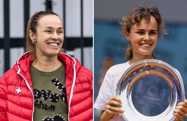 Slide 41 of 56: FRANCE - JANUARY 01: Tennis: French Open, Closeup of Martina Hingis victorious with trophy after winning jr, tournament at Roland Garros, Paris, FRA 1/1/1993--12/31/1993 (Photo by Caryn Levy/Sports Illustrated/Getty Images) (SetNumber: D50787); Former tennis player Martina Hingis reacts during a training session of team Switzerland in Biel, Switzerland, 06 February 2019. Switzerland will face Italy in a Fed Cup World Group II encounter on 09-10 February.