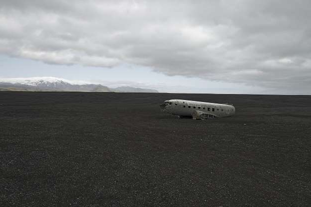 Slide 8 of 28: Turbulent weather led to the crash of this US Navy plane in Vik, Iceland.