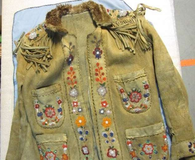 This beaded jacket, which is thought to have been gifted to a nurse who worked in the Cumberland House community decades ago, is now coming back to Saskatchewan. The B.C. family that has been in possession of the jacket, and numerous other artifacts, felt it was important to see the artifacts returned to where they belonged.