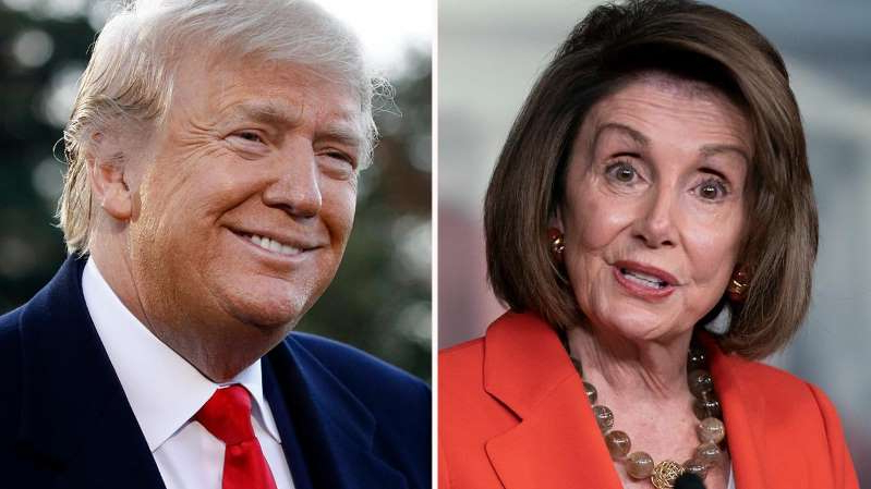 Nancy Pelosi, Donald Trump wearing a suit and tie