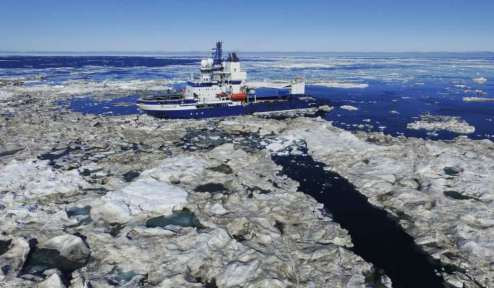 Slide 1 of 25: The Finnish icebreaker MSV Nordica sails through ice floating on the Beaufort Sea off the coast of Alaska, Sunday, July 16, 2017, while traversing the Arctic's Northwest Passage, where global warming is melting sea ice and glaciers at an historic rate, altering and opening up the Arctic as never before. (AP Photo/David Keyton)