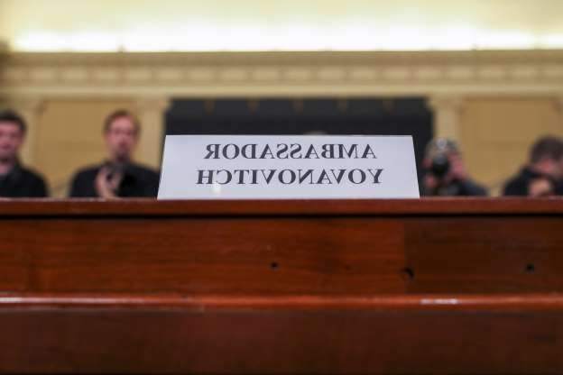 Slide 14 of 55: The nameplate of Marie Yovanovitch, former U.S. ambassador to Ukraine, is seen before she testified before a House Intelligence Committee hearing as part of the impeachment inquiry into U.S. President Donald Trump on Capitol Hill in Washington, U.S., November 15, 2019. REUTERS/Jonathan Ernst