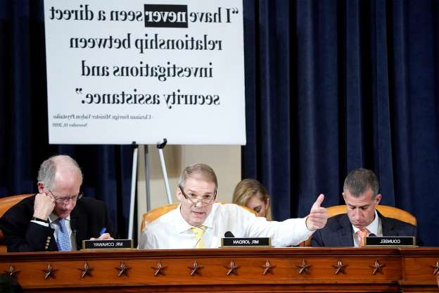 Slide 2 of 55: Rep. Jim Jordan (R-OH) questions U.S. Ambassador to Ukraine Marie Yovanovitch during a hearing before the House Intelligence Committee hearing as part of the impeachment inquiry into U.S. President Donald Trump on Capitol Hill in Washington, Washington, U.S., November 15, 2019.