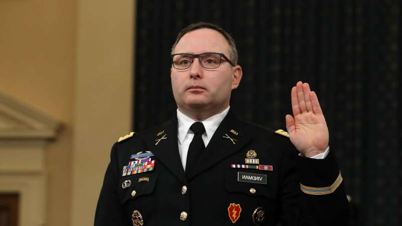 a man wearing a uniform: Lt. Col. Alexander Vindman is the top Ukraine expert on the National Security Council and is the first White House aide to testify in the House impeachment inquiry.