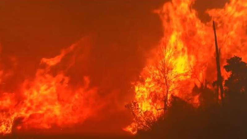 a sunset over a fire: The bushfire risk in South Australia could see 100 schools closed.